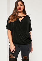 Missguided Plus Size Black Wrap Over Slinky Top