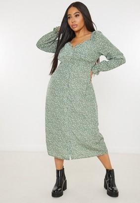 Missguided Plus Size Green Floral Milkmaid Midi Dress