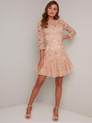 Chi Chi London Emberley Dress - Mink