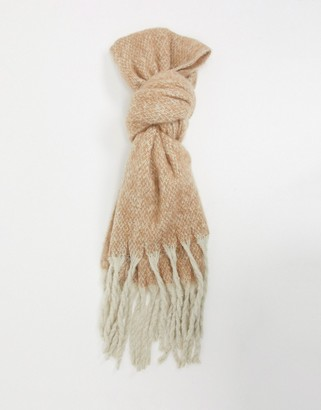 French Connection contrast tassel scarf in beige