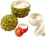Twos Company Two's Company Cupcakes and Cartwheels Veggie Salt Measuring Cup Set in Gift Box