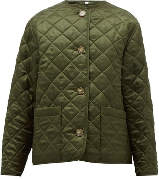 Burberry Quilted Logo-jacquard Twill Jacket - Womens - Olive Green