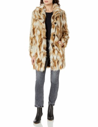 7 For All Mankind Women's Single Breasted Color Faux Fur Coat