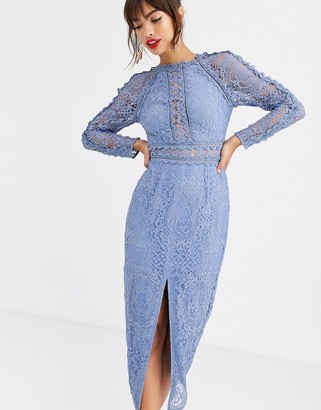 Asos Design DESIGN long sleeve pencil dress in lace with geo lace trims-Blue