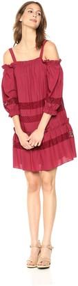 BCBGMAXAZRIA Azria Women's Cold Shoulder Lace Insert Dress