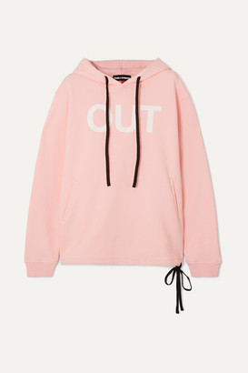 Double Rainbouu - Printed Cotton-fleece Hoodie - Pastel pink
