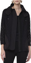 Akris Punto Punto Eyelet Zip-Front Coat, Black