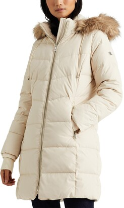 Lauren Ralph Lauren Faux Shearling & Faux Fur Trim Hooded Down Puffer Coat