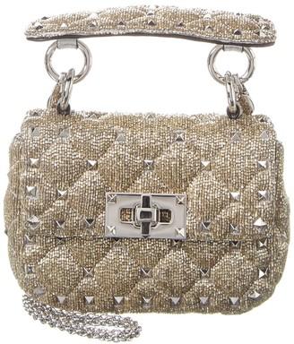 Valentino Rockstud Spike It Micro Beaded Leather Shoulder Bag