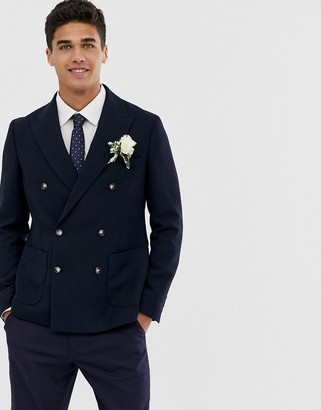 Moss Bros skinny double breasted suit jacket in navy