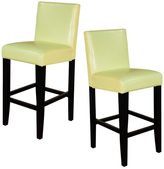 Monsoon Villa Faux Leather Wax Green Counter Stools (Set of 2)