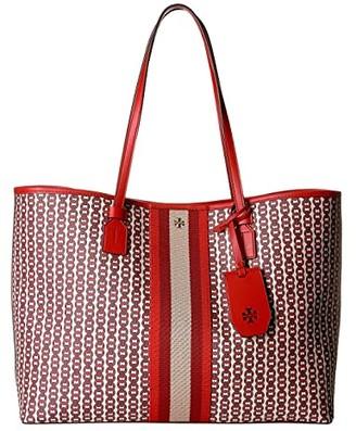 Tory Burch Gemini Link Canvas Tote (New Ivory) Handbags