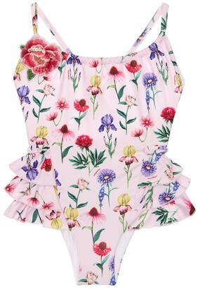 MonnaLisa Flowers Print One Piece Swimsuit