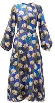 Borgo de Nor Elista Floral-print Silk-twill Dress - Womens - Navy Multi