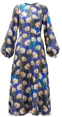 Borgo de Nor Elista Floral-print Silk-twill Dress - Navy Multi