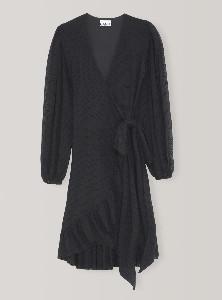 Ganni Black Mesh Dot Dress - 42 | black - Black/Black