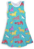 Urban Smalls Aqua Fanciful Unicorns Skater Dress - Toddler & Girls