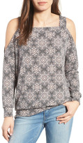 Bobeau Cold Shoulder Print Sweatshirt