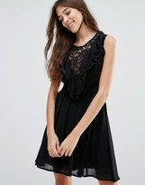 Wal G Lace Insert Skater Dress With Ruffles