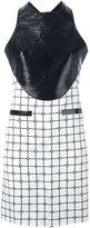 Courreges contrast panel grid print dress - women - Cotton/Polyurethane/Viscose - 36