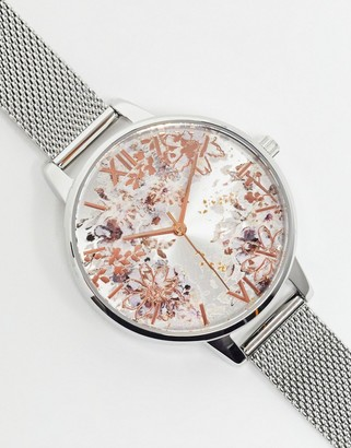 Olivia Burton OB16VM46 Abstract Florals mesh watch in silver