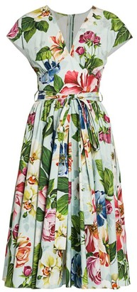 Dolce & Gabbana Poplin Floral-Print Belted Dress