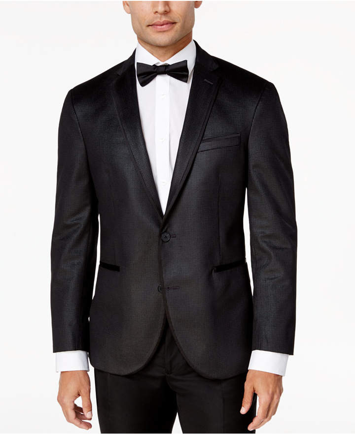 Kenneth Cole Reaction Men Slim-Fit Charcoal Check Velvet Dinner Jacket