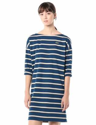 Lacoste Womens Long Sleeve Boat Neck Striped Heavy Rib Mariniere Dress Casual Dress