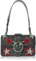 Pinko Mini Love Stars Black Leather Shoulder Bag