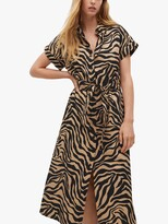 Thumbnail for your product : MANGO Zebra Print Midi Shirt Dress, Brown/Multi
