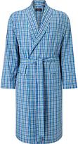 John Lewis Linford Check Cotton Poplin Robe, Blue