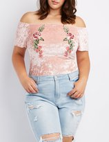 Charlotte Russe Plus Size Velvet Embroidered Off-The-Shoulder Bodysuit