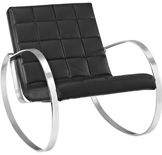 """Modway 27"""" W Faux Leather Lounge Chair Upholstery: Black Faux Leather"""