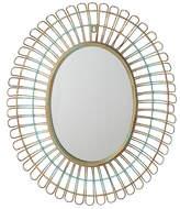 Asstd National Brand Distressed Blue Oval Wall Mirror