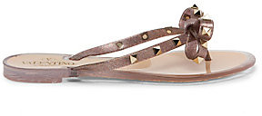 Valentino Women's Garavani Rockstud Bow Metallic Jelly Thong Sandals