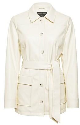 Dorothy Perkins Womens Cream Pu Belted Shirt Jacket, Cream