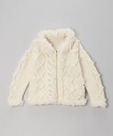 Little Cotton Dress Girls' Cardigans Ecru/ - Ecru Magnolia Wool Zip-Up Sweater - Toddler & Girls