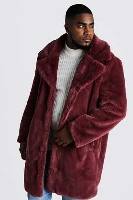 BoohoomanBoohooMAN Mens Pink Big & Tall Faux Fur Overcoat, Pink