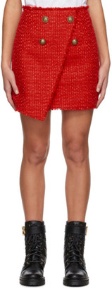 Balmain Red Tweed Wrap Asymmetric Miniskirt