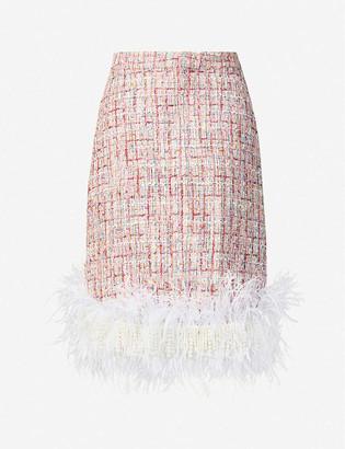 Huishan Zhang Malin pearl and feather-trim high-waist tweed mini skirt