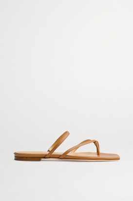 AEYDĒ Marina Leather Slides - Tan