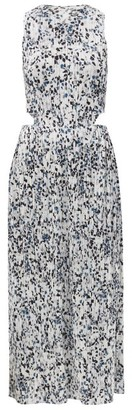 Pleats Please Issey Miyake Terrazzo-print Technical-pleated Dress - Blue White
