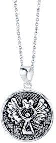 "Unwritten Guardian Angel"" Pendant Necklace in Two-Tone Sterling Silver, 18"" Chain"