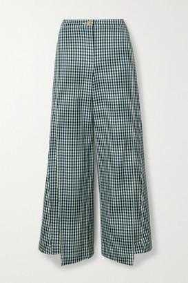 Lanvin - Checked Wool-tweed Wide-leg Pants - Blue