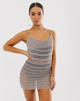 Asos Design DESIGN metallic crochet cowl neck mini dress