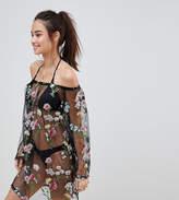 South Beach Bardot Floral Embroidered Mesh Beach Dress