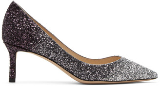 Jimmy Choo Silver and Purple Coarse Glitter Romy 60 Heels