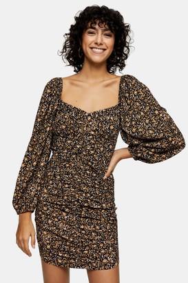 Topshop Brown Print Ruched Tea Mini Dress