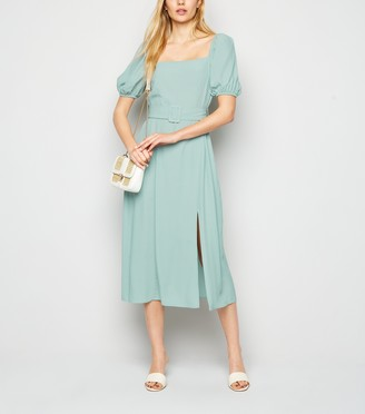 New Look Light Puff Sleeve Belted Midi Dress
