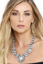 LuLu*s Penchant for Pretty Silver Rhinestone Statement Necklace